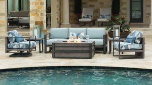 Pool side fire pit