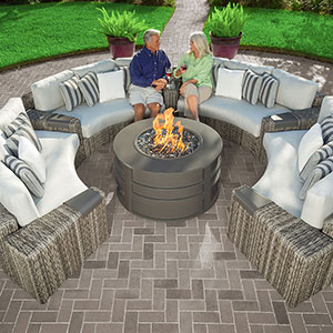 outdoor patio furniture and fire pit